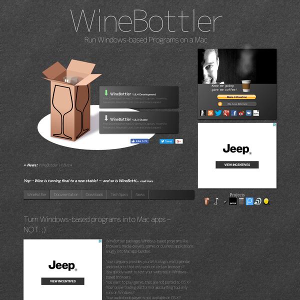 WineBottler | Run Windows-based Programs on a Mac