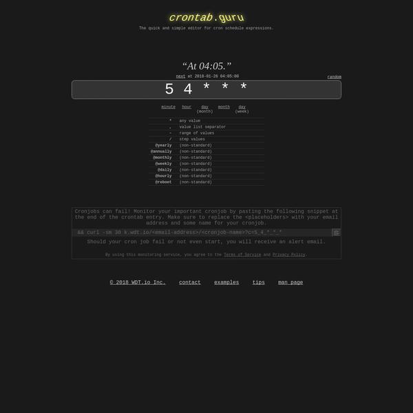 crontab.guru - the cron schedule expression editor