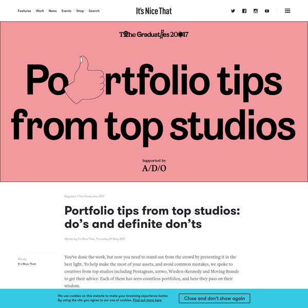 Portfolio tips from top studios: do's and definite don'ts