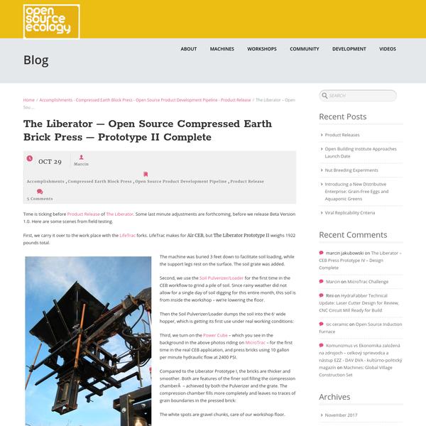 The Liberator - Open Source Compressed Earth Brick Press - Prototype II Complete