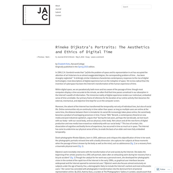 Rineke Dijkstra's Portraits: The Aesthetics and Ethics of Digital Time