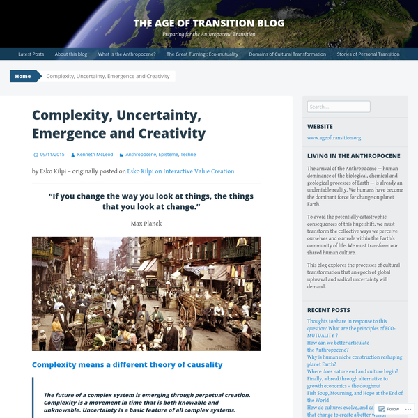 Complexity, Uncertainty, Emergence and Creativity