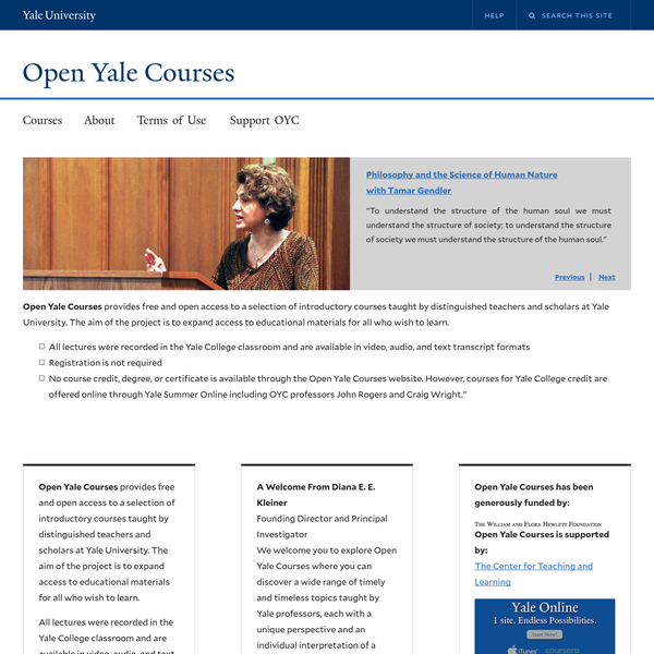 Welcome | Open Yale Courses
