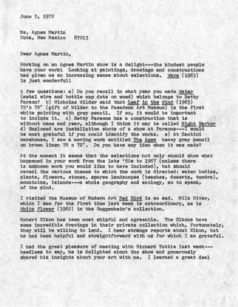 Agnes Martin 1973 correspondence