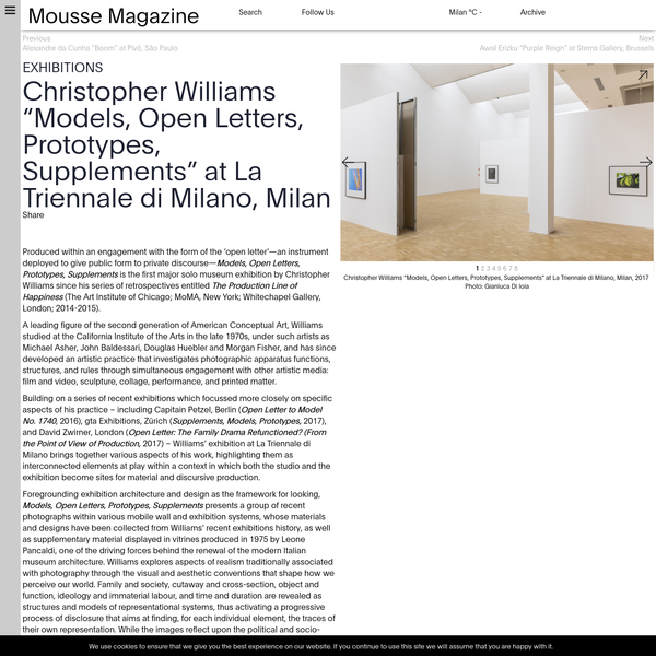 """Christopher Williams """"Models, Open Letters, Prototypes, Supplements"""" at La Triennale di Milano, Milan"""