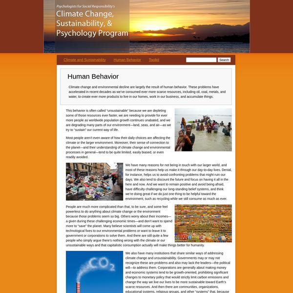 Climate Change, Sustainability, and Psychology Program