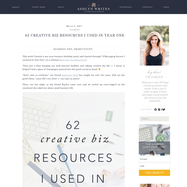 62 Creative Biz Resources I Used in Year One | Ashlyn Writes | Copywriting & Calligraphy Blog