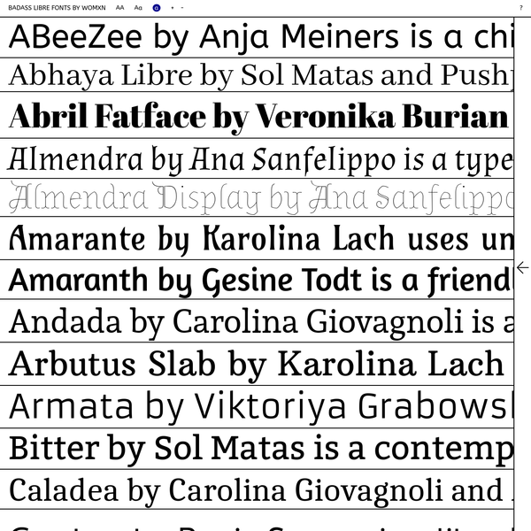 This collection aims at giving visibility to libre fonts drawn by womxn designers, who are often underrepresented in the traditionally conservative field of typography. These fonts are shared under Free, Libre and Open Source licenses, which allow anyone to use them, modify their design, contribute more glyphs or styles to their non-nuclear families, build upon them and redistribute them further.