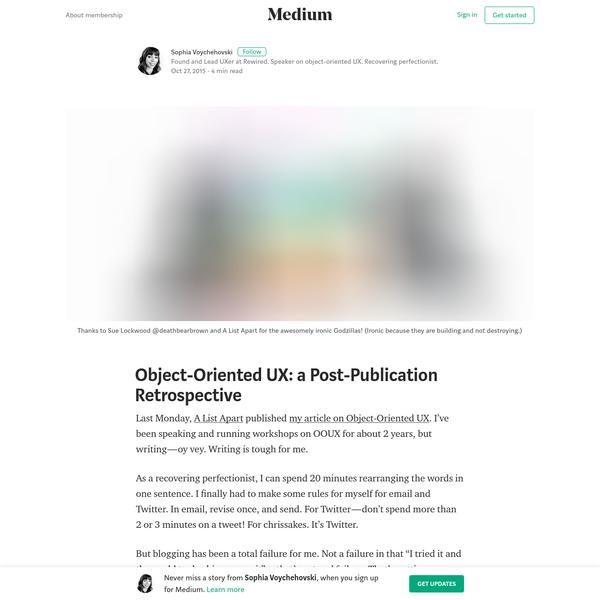 Object-Oriented UX: a Post-Publication Retrospective