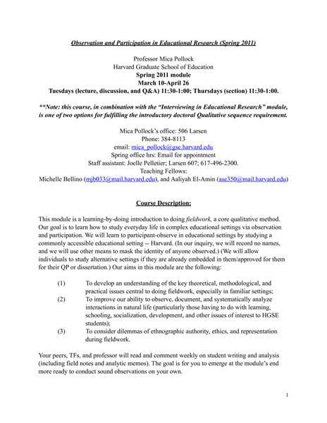 Harvard GSE: Observation and Participation in Educational Research