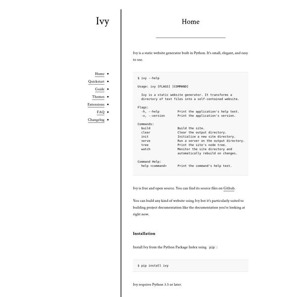 Ivy - a minimalist static website generator
