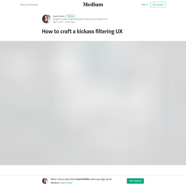 How to craft a kickass filtering UX - Laura Cunha - Medium