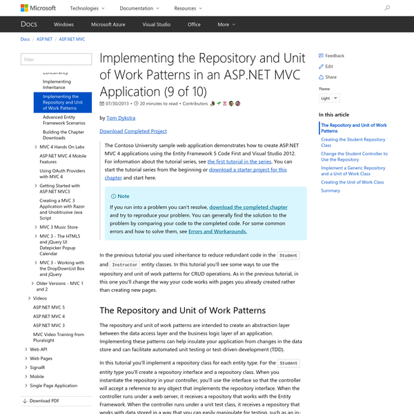 Implementing the Repository and Unit of Work Patterns in an ASP.NET MVC Application (9 of 10)