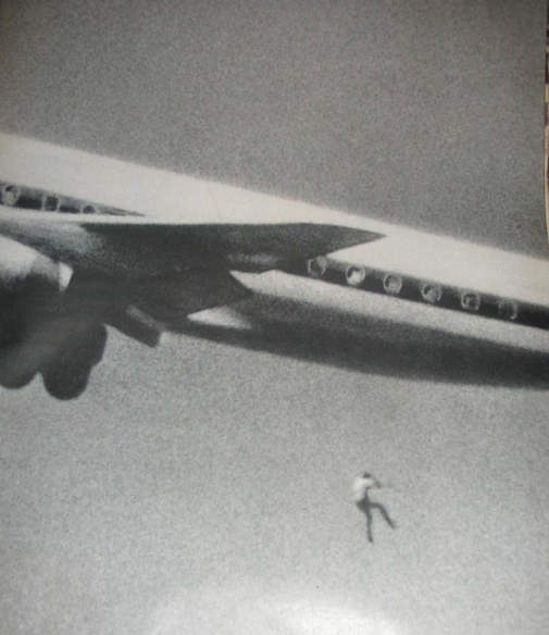 In 1970, Keith Sapsford, a 14-year-old boy, died after falling from the wheel-well of a Tokyo-bound Japan Air Lines DC-8 taking off from the Kingsford Smith Airport at Sydney, Australia.   John Gilpin, an amateur photographer, was testing his new camera lens as the plane took off and unwittingly caught Keith Sapsford's 200 foot plunge to death.