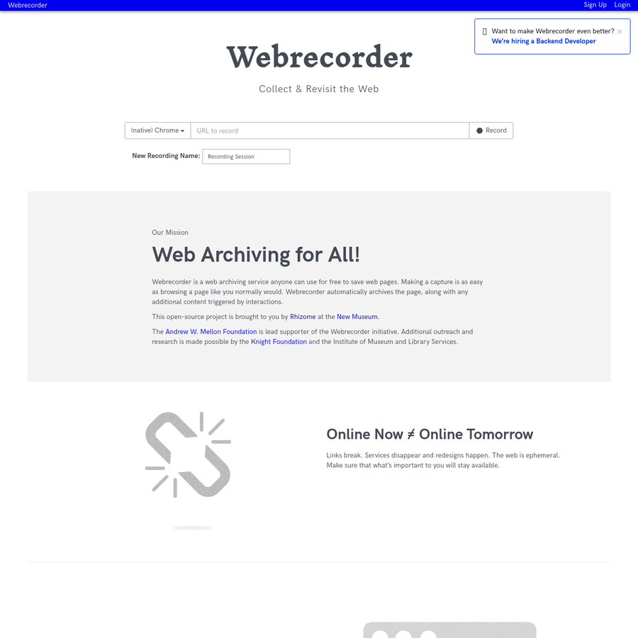 Create high-fidelity, interactive web archives of any web site you browse.