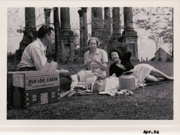 April, 1954: picnickers at the base of the Windsor Ruins.
