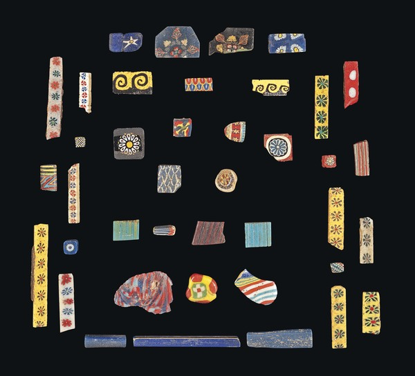Egyptian mosaic glass bars and inlay fragments, 200BC - 200AD