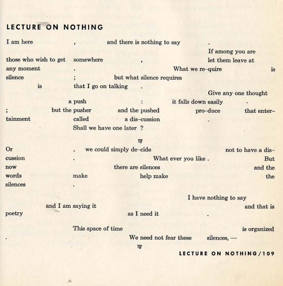Silence: The complete Lectures and Writings of John Cage.
