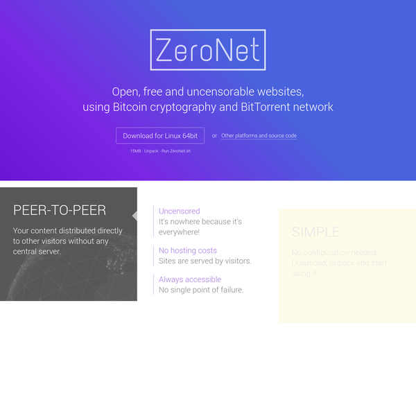 ZeroNet: Decentralized websites using Bitcoin crypto and the BitTorrent network