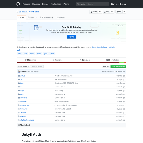 jekyll-auth - A simple way to use GitHub OAuth to serve a protected Jekyll site to your GitHub organization
