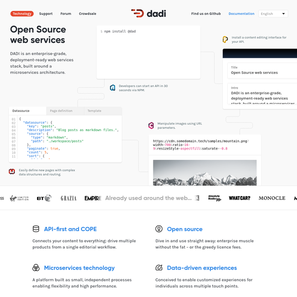 DADI is an enterprise-grade, deployment-ready web services stack, built around a microservices architecture.