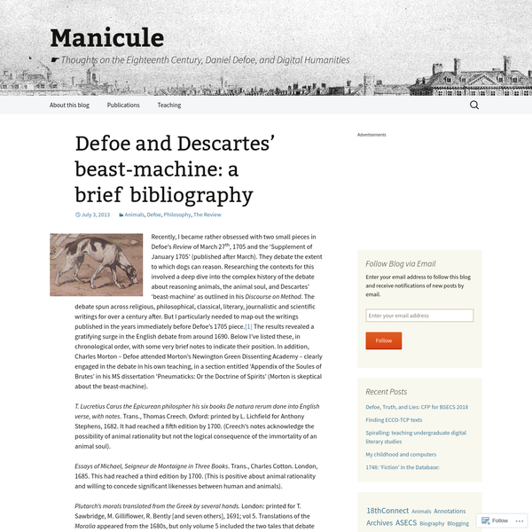 Defoe and Descartes' beast-machine: a brief bibliography