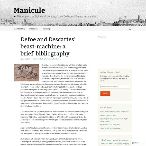 Defoe and Descartes' beast-machine: a brief bibliography