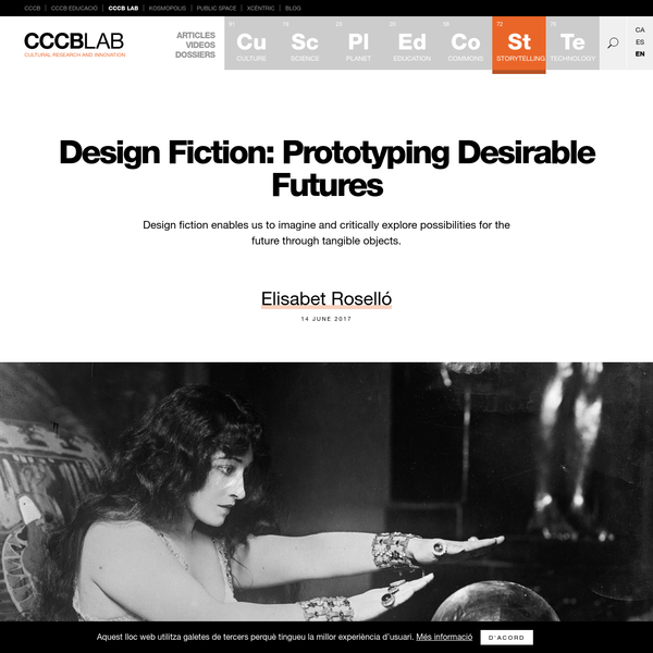 With the advent of new societal, cultural and economic logics and models, new imaginaries for the future are needed along with new tools to construct them. Design fiction is a new methodology that allows us to prototype tangible objects, with a deliberate specific aesthetic and an implicit narrative property.