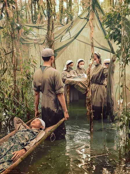 Improvised operating room in mangrove (1970, Colorized)