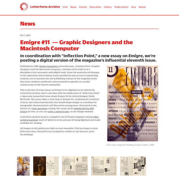 Letterform Archive - Emigre #11 - Graphic Designers and the Macintosh Computer