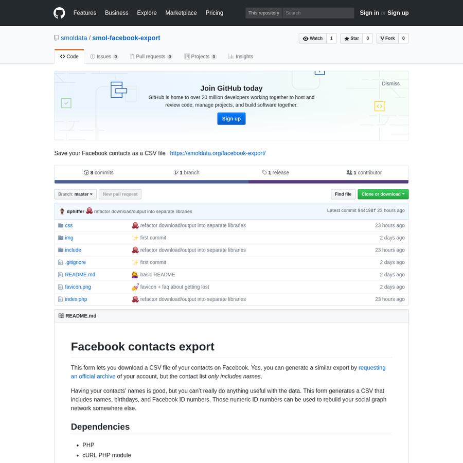 smol-facebook-export - Save your Facebook contacts as a CSV file