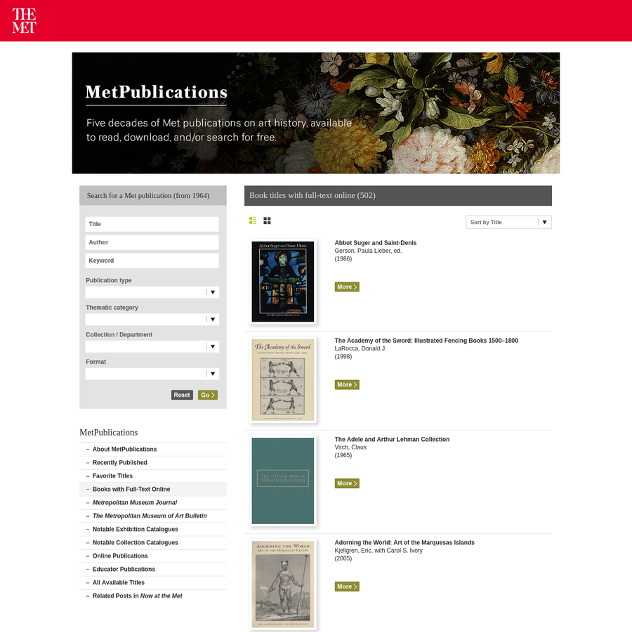 Over 450 full-text art books by The Metropolitan Museum of Art available to download and read online for free.