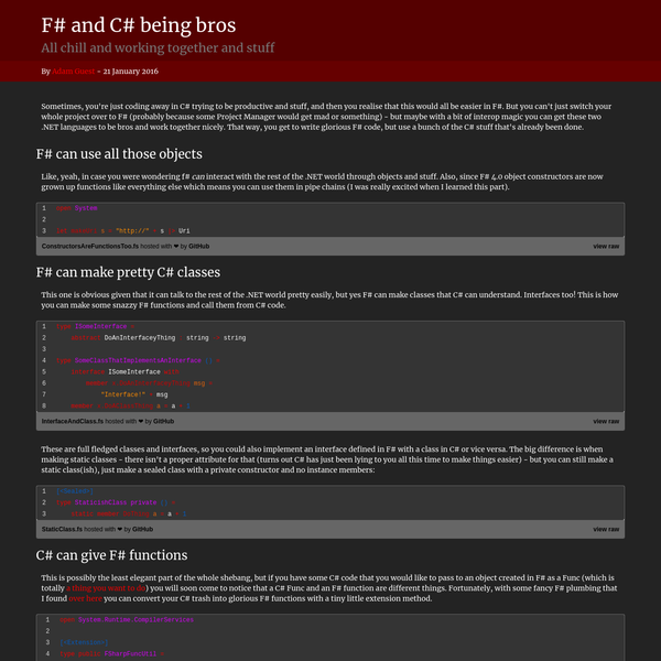 F# and C# being bros