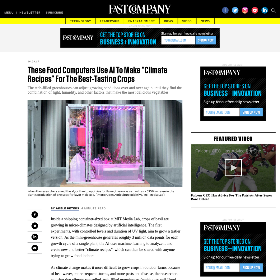 Inside a shipping container-sized box at MIT Media Lab, crops of basil are growing in micro-climates designed by artificial intelligence. The first experiments, with controlled levels and duration of UV light, aim to grow a tastier version.