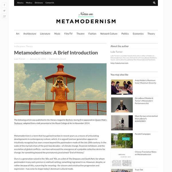 Metamodernism: A Brief Introduction