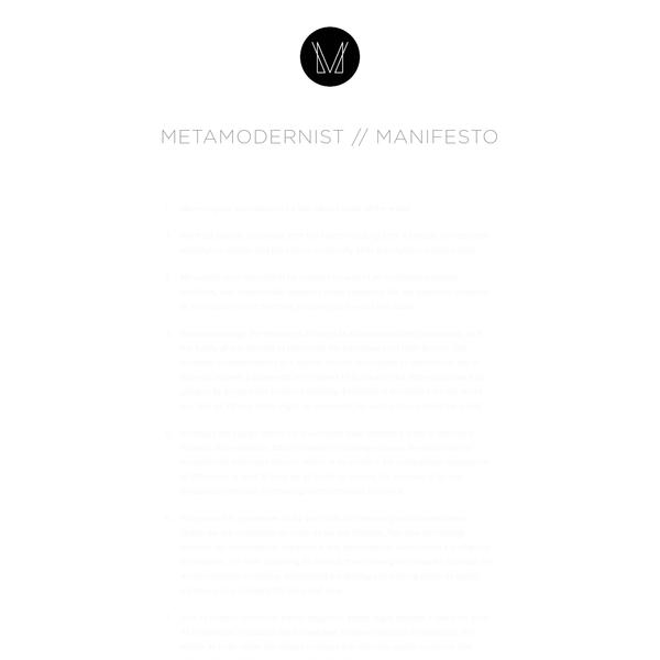 The Metamodernist Manifesto | Luke Turner (2011)