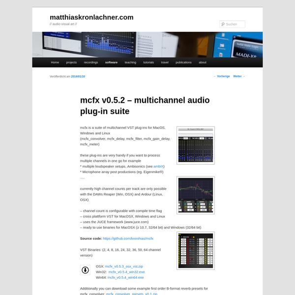 mcfx v0.5.2 - multichannel audio plug-in suite