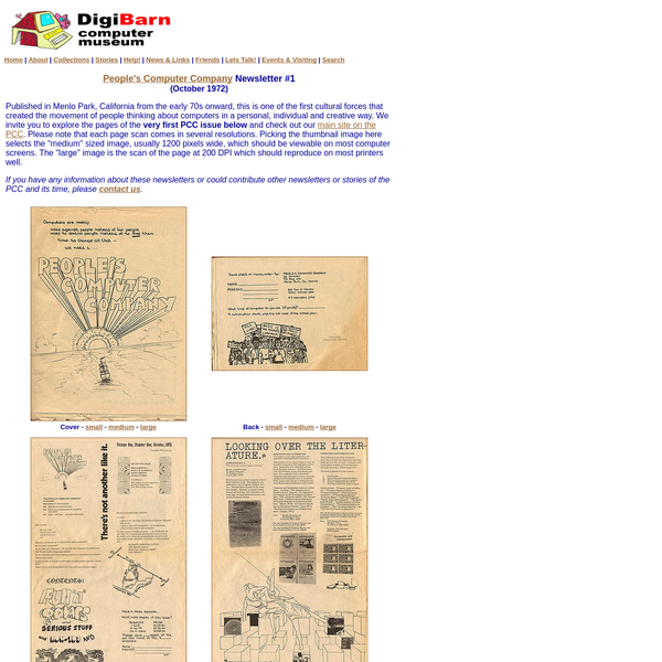 """very first PCC issue below and check out our main site on the PCC. Please note that each page scan comes in several resolutions. Picking the thumbnail image here selects the """"medium"""" sized image, usually 1200 pixels wide, which should be viewable on most computer screens."""
