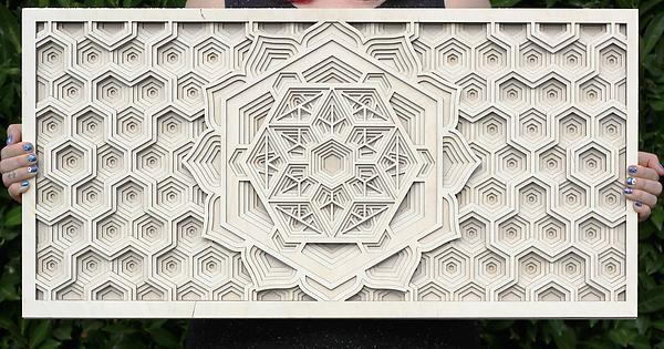 Power of Six Mandala - laser cut wood sacred geometry