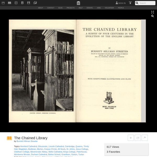 Burnett Hillman Streeter The Chained Library Burt Franklin 1970 ( 1931 ) Acrobat 7 Pdf 102 Mb. Scanned by artmisa using Canon DR2580C + flatbed option