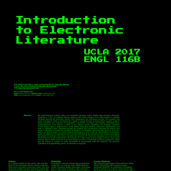Intro to Electronic Literature, UCLA 2017, DSS