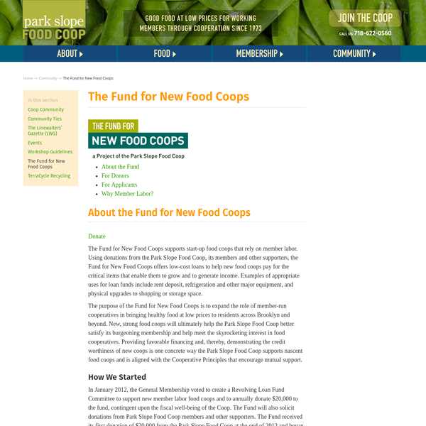 The Fund for New Food Coops : Park Slope Food Coop