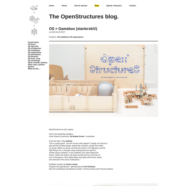 "OpenStructures as (is!) a game.OS for the Hack/Play exhibition at the Vlaams Cultuurhuis, De Brakke Grond - AmsterdamFrom the Hack / Play website:""..."
