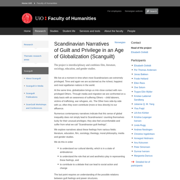 Scandinavian Narratives of Guilt and Privilege in an Age of Globalization (Scanguilt) - Faculty of Humanities