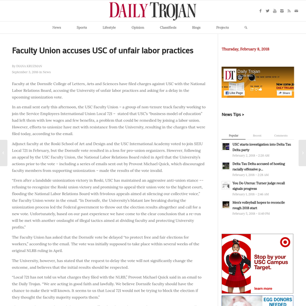 Faculty Union accuses USC of unfair labor practices | Daily Trojan
