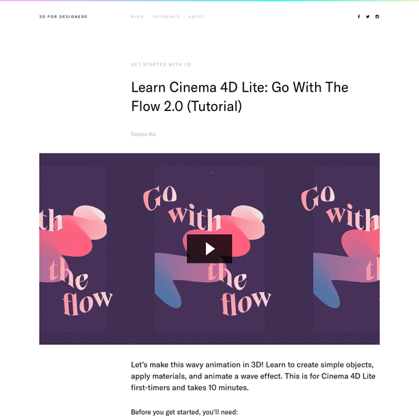 Learn Cinema 4D Lite: Go With The Flow 2.0 (Tutorial)