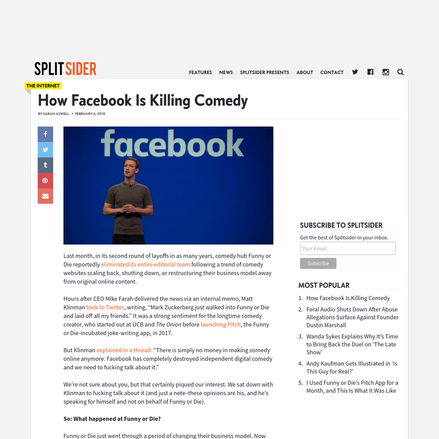 Last month, in its second round of layoffs in as many years, comedy hub Funny or Die reportedly eliminated its entire editorial team following a trend of comedy websites scaling back, shutting down, or restructuring their business model away from original online content. Hours after CEO Mike Farah delivered the news via an internal memo, [...]