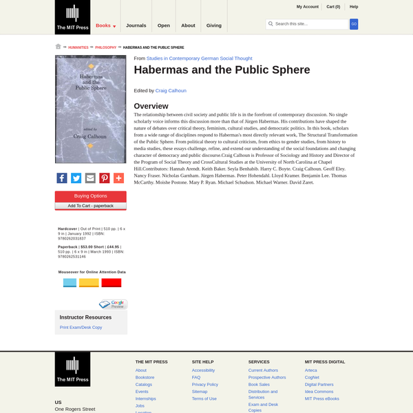 In this book, scholars from a wide range of disciplines respond to Habermas's most directly relevant work, The Structural Transformation of the Public Sphere.