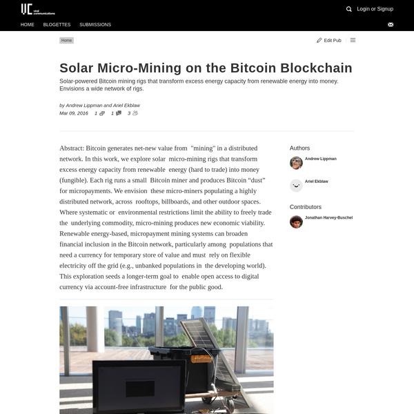 Solar Micro-Mining on the Bitcoin Blockchain