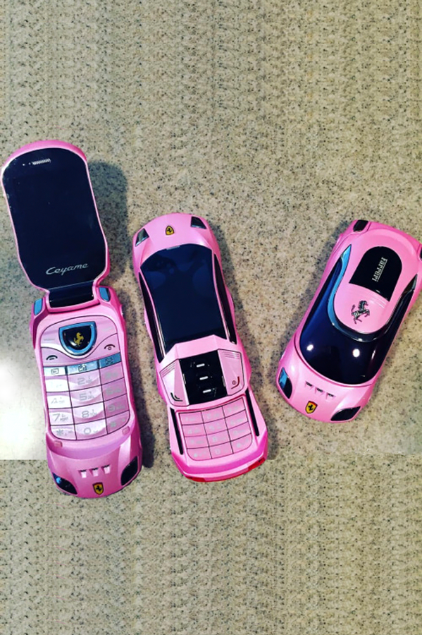 Just pop in your SIM Card and your phone works! Pink / Flip Phone / Ferrari Shape / Trap Phone Bluetooth Enabled, Dual SIM, Global Ready, Music Player Camera 0.